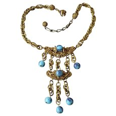 Vintage Signed Miriam Haskell Blue Glass Bead Long Drop Necklace