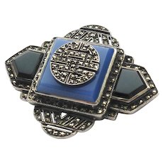 Vintage Art Deco Sterling Silver Marcasite and Chalcedony Pin Brooch
