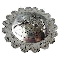 Vintage Southwestern Sterling Horse Bridle Concho Pin Brooch Old West Longhorn Steer