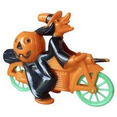 Vintage Rosbro 1950s Hard Plastic Halloween Witch on Motorcycle Figure