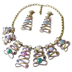 Vintage Colorful Schiaparelli Necklace (unsigned) & Matching Long Drop Signed Clip Earrings