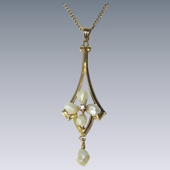 Antique 10k Yellow Gold Lavaliere Pendant with Fresh Water River Pearl Flower on Gold Filled Chain Necklace