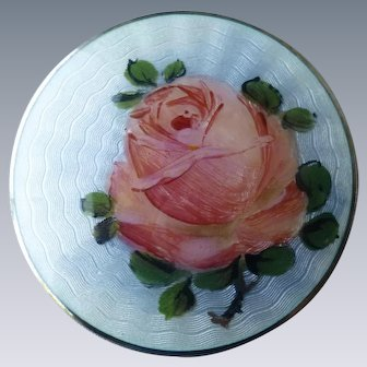 Vintage Norway Signed Finn Jensen Gilt Sterling Silver Enamel Pink Rose Pin