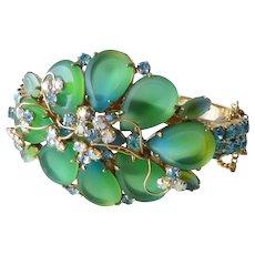 Beautiful Vintage Signed Hobe Green Glass Flower Petal Hinged Clamper Bracelet