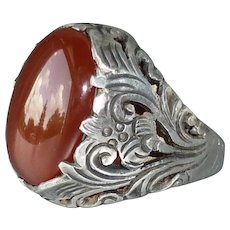 Vintage Ornate Sterling Silver and Red Carnelian Agate Ring