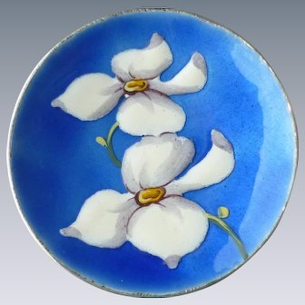 Vintage 835 Silver Enamel Pin with White Dogwood Flowers on Beautiful Blue