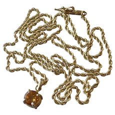 "Vintage 14k Yellow Gold 24"" Rope Chain Necklace with Small Citrine Pendant"
