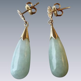 14k Yellow Gold and Pale Green Jade Drop Pierced Earrings with Chinese Symbol