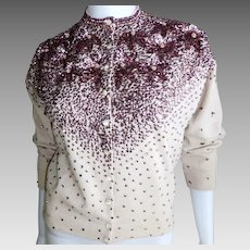 Vintage Burgundy Sequin and Beaded Lambs Wool Sweater Silk Lined tagged Dragon Arts Hong Kong