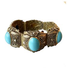 Chinese Export Gilt Silver Filigree and Turquoise Cabochon Bracelet