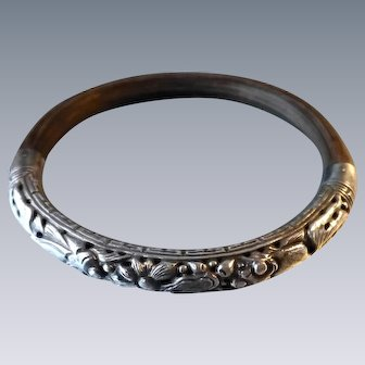 Vintage Chinese 900 Silver and Bamboo or Rattan Wood Bangle Bracelet Openwork Silver Koi and Lotus