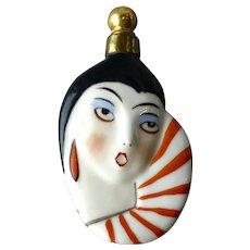 Vintage German Art Deco Figural Perfume Bottle Flapper Woman Lay Down Flask