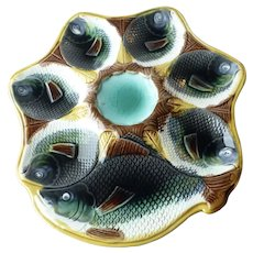 Antique Adams & Bromley Majolica Fish Oyster Plate with Center Well