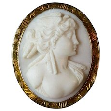Vintage Carved Creamy White & Pale Pink Shell Cameo & 10k Yellow Gold Pin Brooch or Pendant