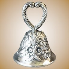 """S. Kirk & Son Sterling Silver Small Dinner Bell Repousse Floral & Heart Shaped Handle 2 & 3/8"""" tall"""