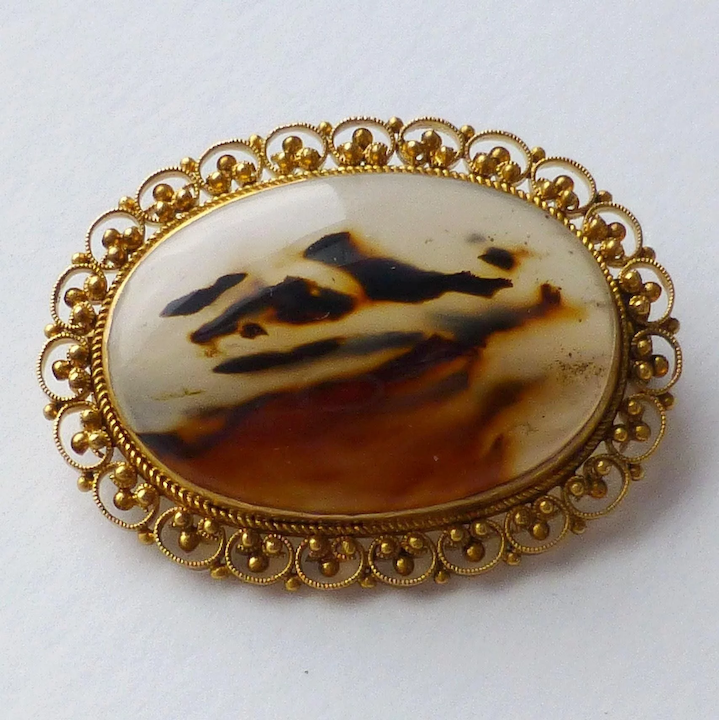0cfd7755d6fd7 Antique 14k Gold Cannetille Filigree Moss Agate / Dendritic Agate Brooch Pin