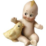 Miniature Rose O'Neill German Bisque Action Kewpie Doll with Chick Figurine