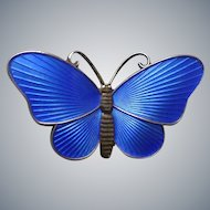 Vintage Norway Sterling & Beautiful Blue Enamel Butterfly Pin by Ivar Holth