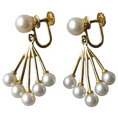 Vintage 14k Yellow Gold & Cultured Pearl Screw Back Drop Earrings