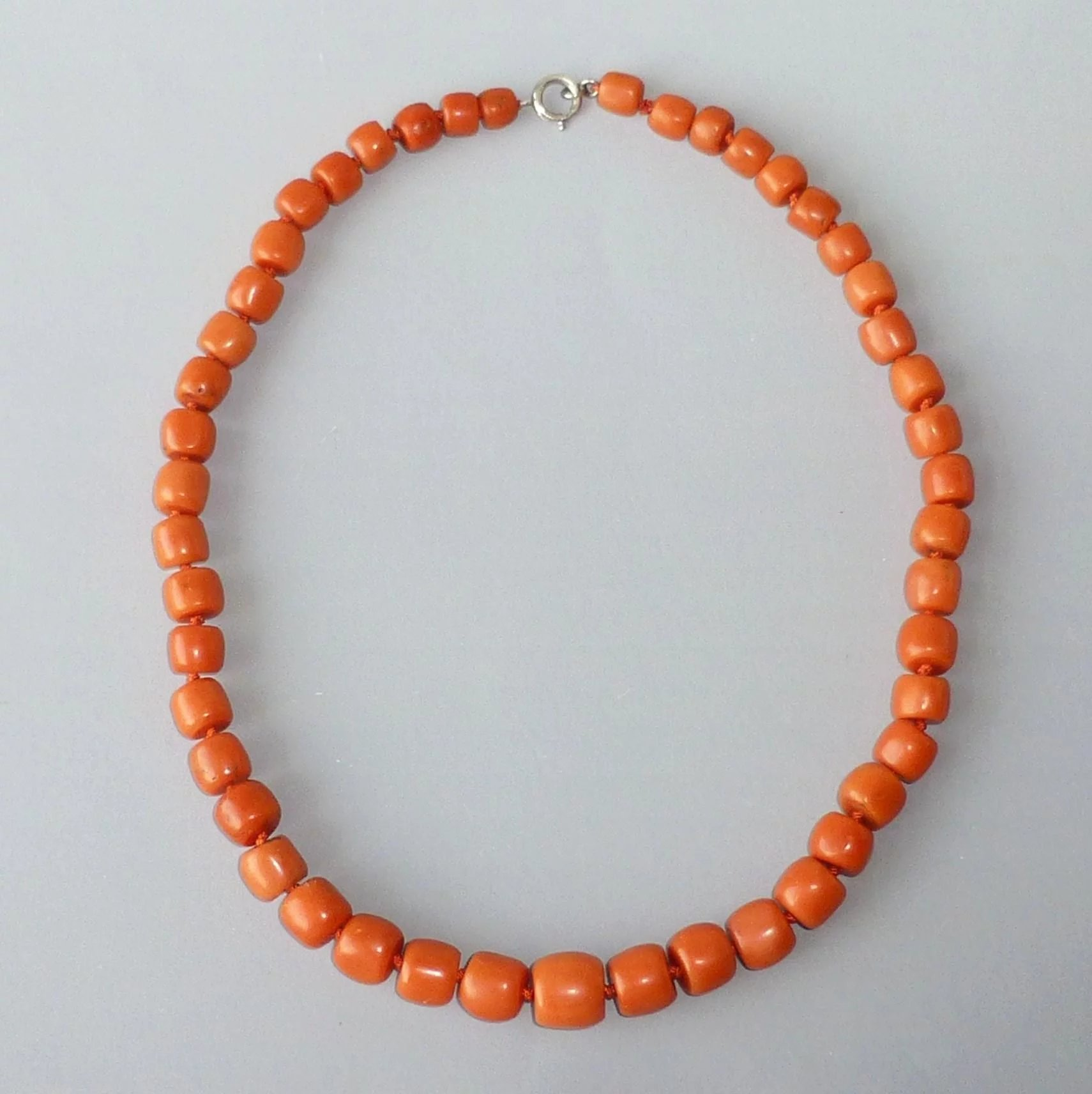 Fine Salmon Coral Necklace Antique Barrel Shaped Beads