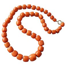 Fine Salmon Coral Necklace, Antique Barrel Shaped Beads Restrung, 18-1/2 Inches Long, 64 Grams