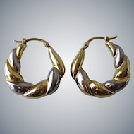 Estate 14k Yellow and White Gold Puffy Hoop Pierced Earrings