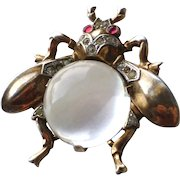 Vintage Signed Trifari Sterling Jelly Belly Rhinestone Fly Bug Insect Pin