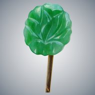 Vintage Stick Pin, 14k Yellow Gold and Carved Green Jadite Jade Stickpin