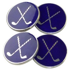 Vintage Pair Double Sided English Sterling and Blue Enamel Golfer Golf Clubs Cufflinks in a Larger Disc Size