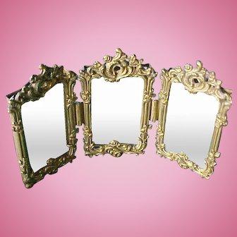 Exquisite Antique Miniature Trifold Brass Mirror