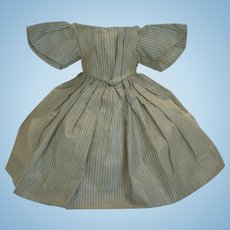 1860's Antique Original Enfantine Striped Silk French Fashion Poupée Dress