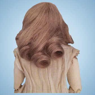 Vintage Human Hair Wig for French Fashion or Small Doll, Carmel Blond