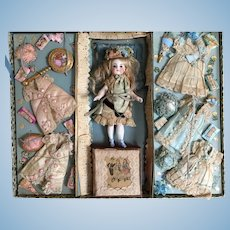 1880's Rare French Presentation Box Mignonette Doll with Extensive Original Wardrobe