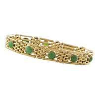 Custom Made 20K Yellow Gold and Jade Bracelet