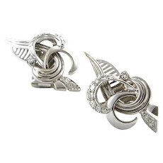 Custom Made Retro Platinum and Diamond Earrings