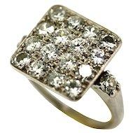 Art Deco Palladium and Diamond Pave Ring