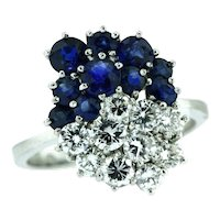 Vintage Custom Made Diamond and Sapphire Ring