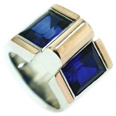 Superb French Gold and Silver Retro Ring
