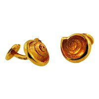 Vintage Custom Made 18KT, Carved Citrine Cuff Links