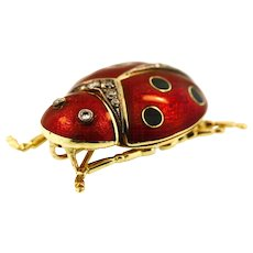 Delightful Vintage 18KT Diamond and Enamel Ladybug