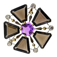 Delightful 18K Smoky Quartz Amethyst and Diamond Brooch