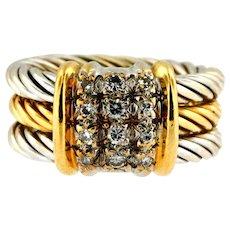 Vintage Designer 18KT Yellow and White Gold Diamond Ring