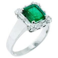 Classic Vintage 2.74 Emerald and Diamond Ring