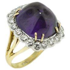 Sugarloaf Amethyst and Diamond Ring