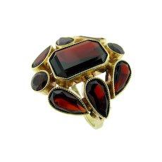 Vintage German Hand Made Garnet Ring