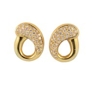 Modernist 18KT Yellow Gold and Diamond Clip Back Earrings