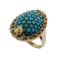 Antique Yellow Gold and Turquoise Ring