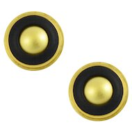 Vintage Greek 18KT Yellow Gold and Onyx Earrings