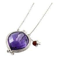 Vintage Unique Miniature Amethyst & Diamond Perfume Bottle Necklace