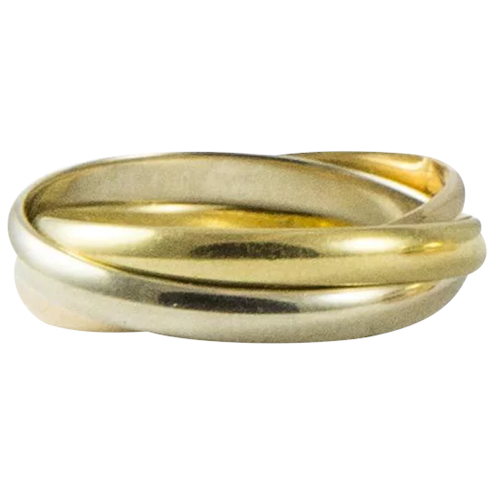 f8d7298640fbb Classic Tri Colour Cartier Rolling Ring Size 7.5